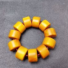 Natural Baltic Amber Elastic Bracelet Men Yellow Old Beeswax Beads Beaded Beaded Bangle Plus Size Am
