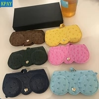 pu leather ostrich patternglasses bag multi function eyeglasses case cover women sunglasses storage protection ins eyewear bags