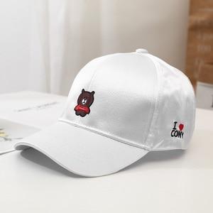embroidery bear baseball hat mercerized cotton baseball hat couple street hat cute animal baseball hat