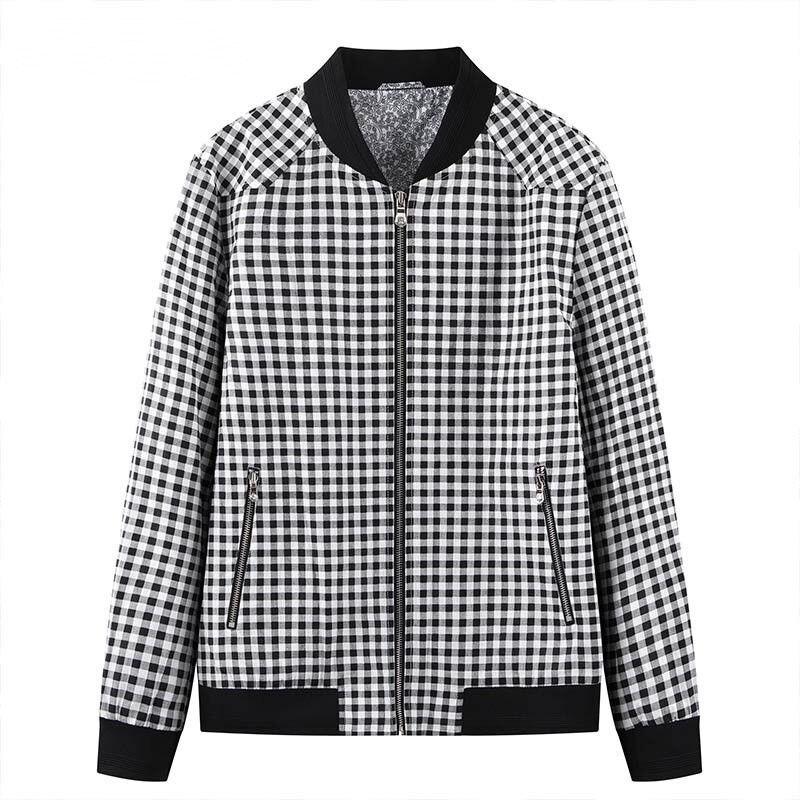 Classic thousand bird check linen blended slim Baseball Jacket