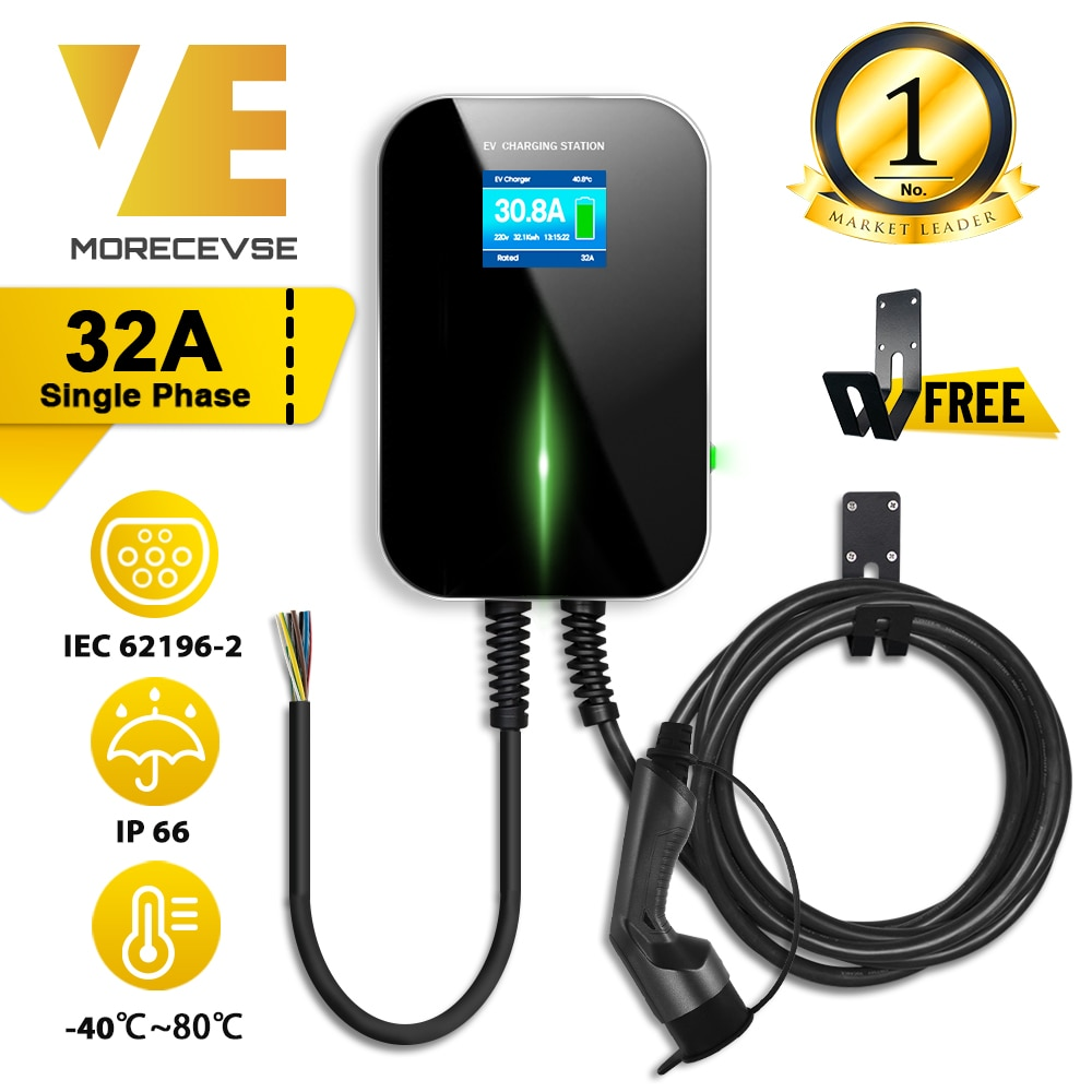 32A 1Phase EVSE Wallbox EV Charger Electric Vehicle Charging Station with Type 2 Cable IEC 62196-2 for Audi MINI Cooper Smart
