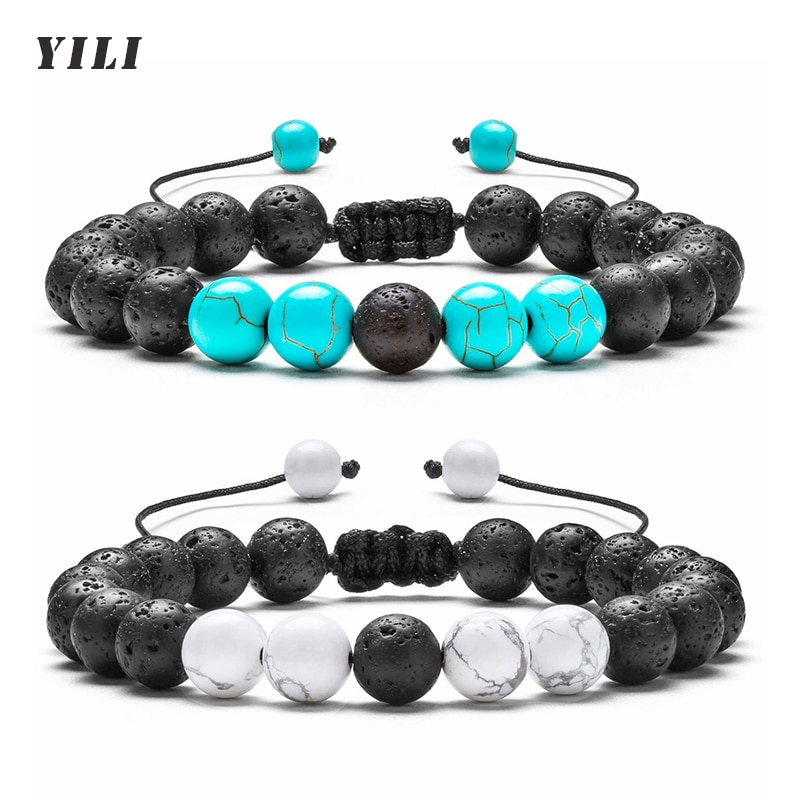 8MM Natural Turquoise Bracelet Lava Rock Essential Oil Diffuser Bracelet Braided Rope Natural Stone