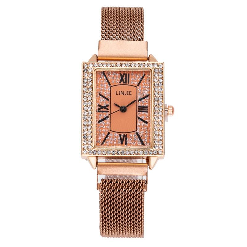 Relojes de moda para mujer, reloj cuadrado románico con diamantes, reloj rojo de Red de cuarzo, reloj rojo con hebilla magnética para mujer