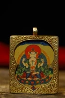 2tibet temple old bronze gilt thangka four armed guanyin bodhisattva statue amulet pendant town house exorcism