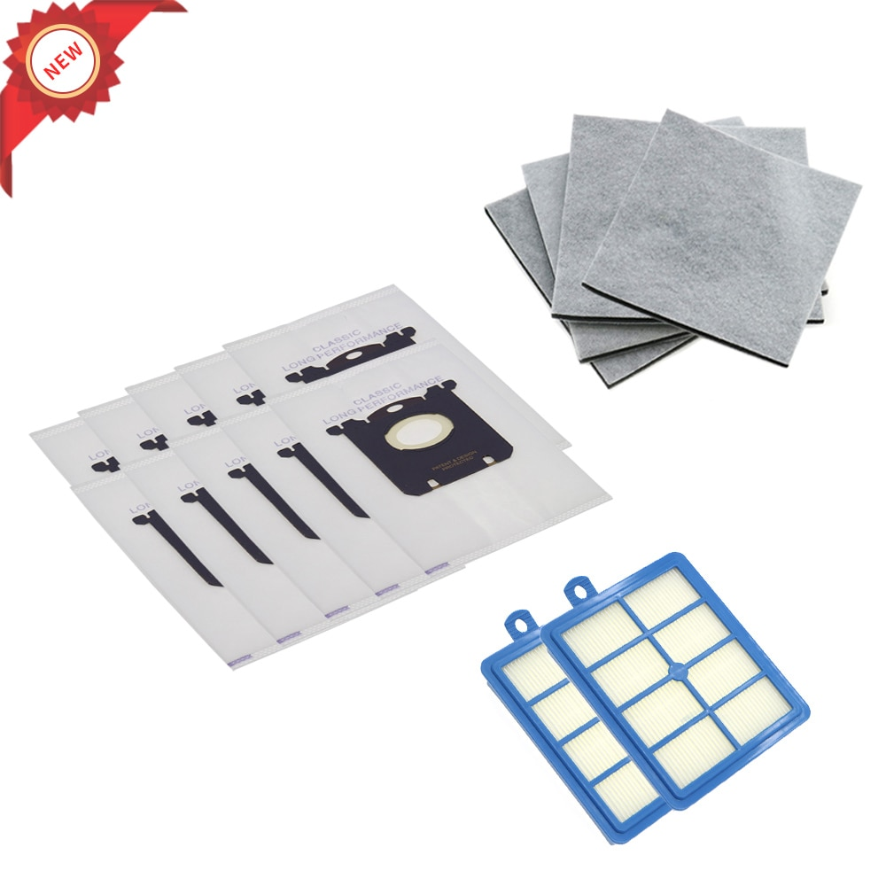 10PCS Dust Bags for s-bag and 2PCS Hepa filter+4PCS Motor cotton filter for Philips Electrolux FC9064 FC9104 FC9050 FC9056