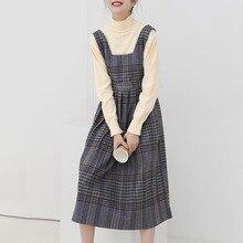 Girls Students Vinatge Brit Graphics Dress Retro Contrast Plaid Pleated Stitching Sleeveless Woolen Dress