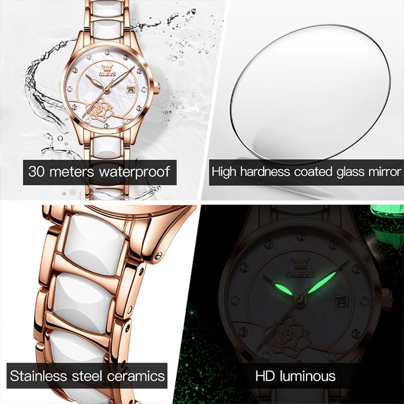 OLEVS 2021 New Fashion Calendar Set Diamond British Movement Ceramic Quartz Women's Watches Camellia Waterproof Luminous 3606 enlarge