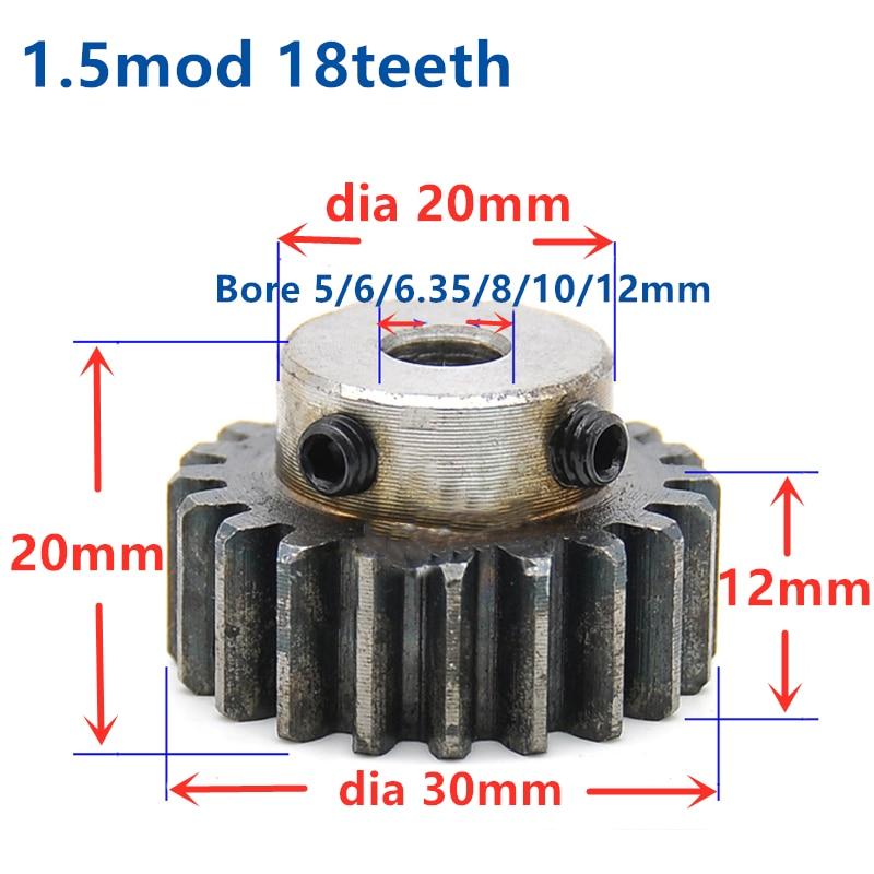 Temch espolón engranaje piñón 1,5 M 18T 18 dientes Mod 1,5 ancho 12mm diámetro 5-12mm dientes derecho engranaje principal cnc engranaje transmisión RC