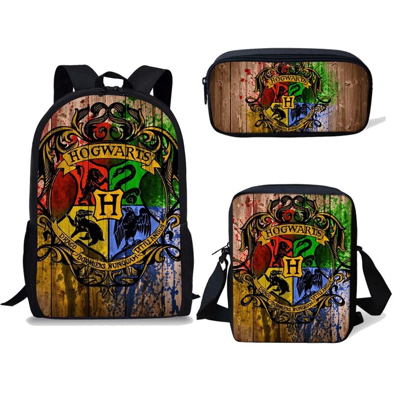 NOISYDESIGNS Children School Bags For Teenage Boys Kids 3PCS/SET Magic School Printing Satchel Backpack Mochila Escolar Mujer