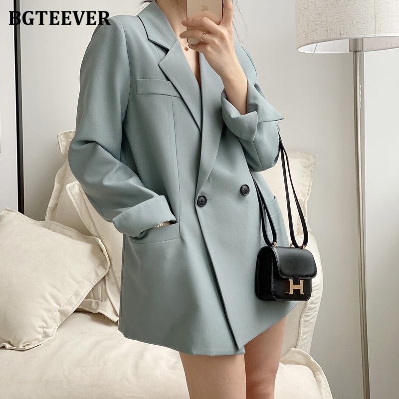BGTEEVER-جاكيت نسائي بياقة مسننة وأكمام طويلة ، ملابس خارجية أنيقة ، مزدوجة الصدر ، فضفاضة ، مجموعة خريف وشتاء 2020