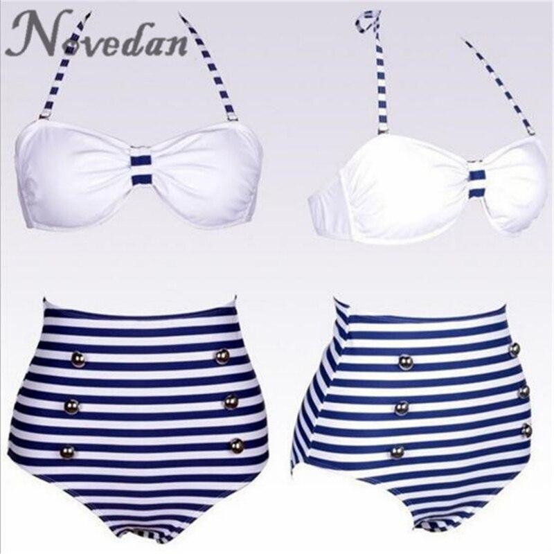 Женский винтажный купальник-бикини с лямкой через шею в морскую синюю полоску, купальный костюм, пляжная одежда, бикини с высокой талией