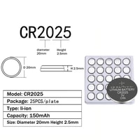 25pcs cr2025 2025 battery 150mah ee6226 br2025 kcr2025 2025 dl2025 l12 3v lithium coin cells button batteries for watch toy