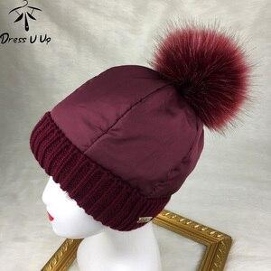 DRESSUUP Women Hat Autumn and Winter Plus Velvet Warm Wool Hat Fashion Knit Sweet Cute Down Feather Fur Pompom