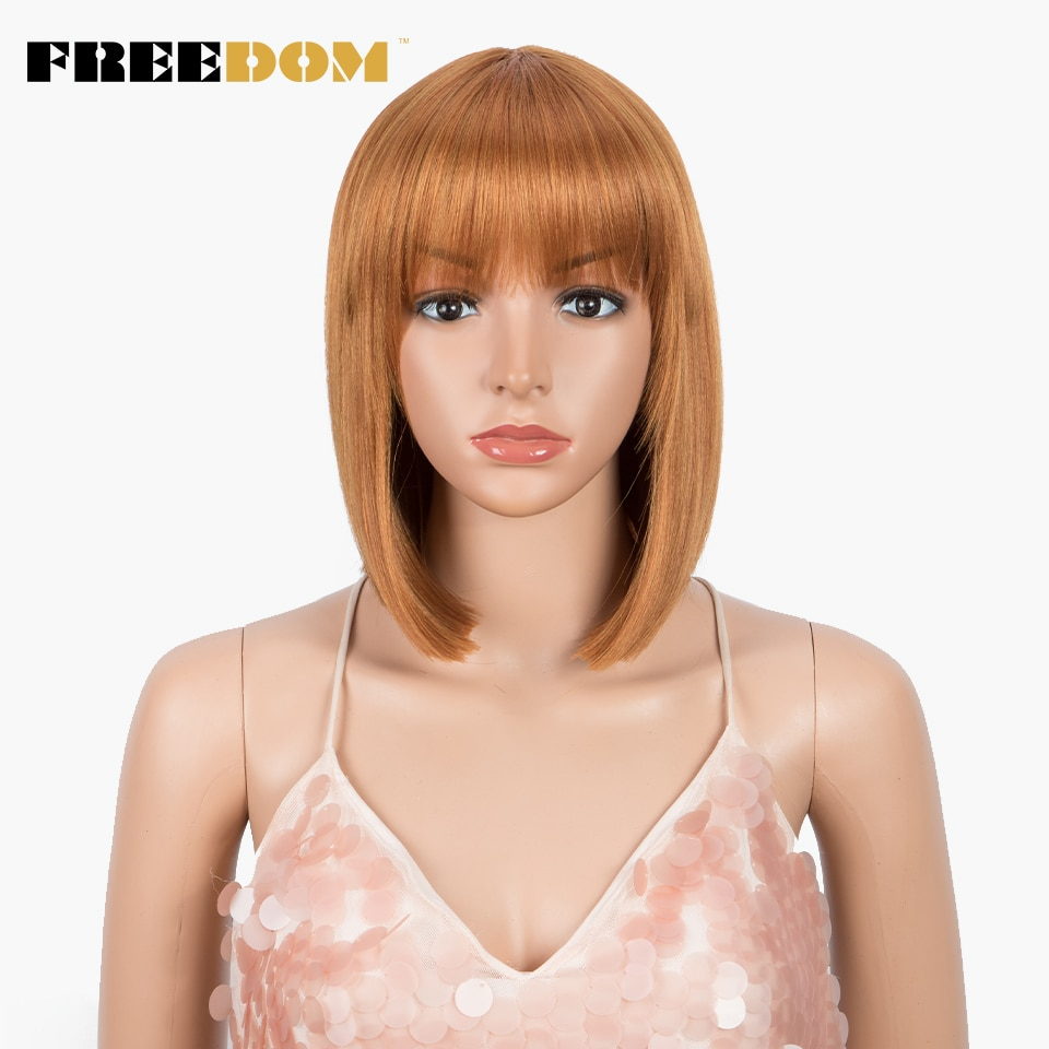 FREEDOM-peluca recta con corte Bob, con flequillo, pelucas de pelo corto sintético para mujeres negras, 12 pulgadas, peluca de pelo de fibra resistente al calor naranja