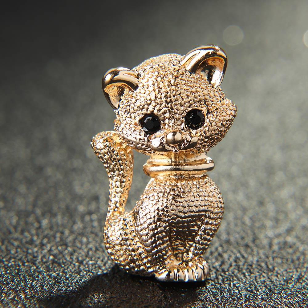 Lindos broches de Metal con forma de gato de aleación de diamantes de imitación de oro insignias para mujeres niños broches accesorios de joyería de moda