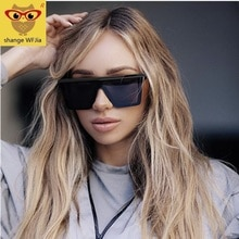Oversized Square Sunglasses Women 2019 Luxury Brand Fashion Flat Top Red Black Clear Lens Top Gafas