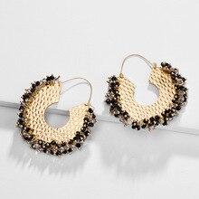 HUIDANG Fashion Jewelry Cluster Beaded Statement Earrings Glass Crystal Metal Hoop Earring for Women