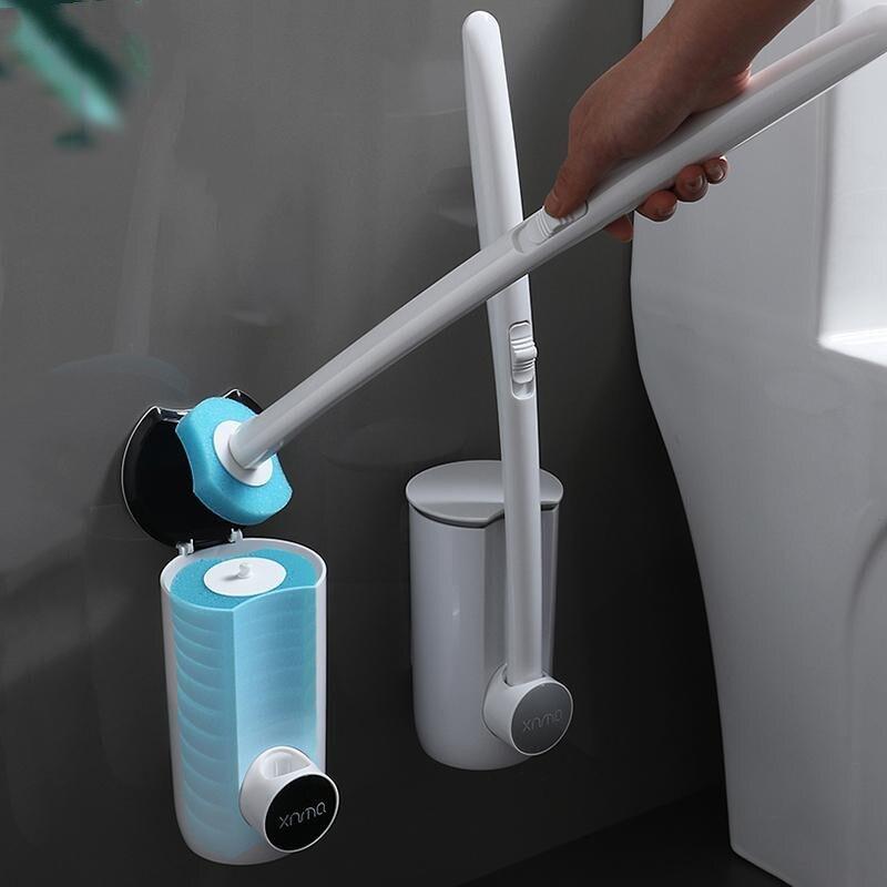 벽걸이 형 욕실 일회용 화장실 브러쉬 모서리가 없는 가정용 청소 화장실 세트