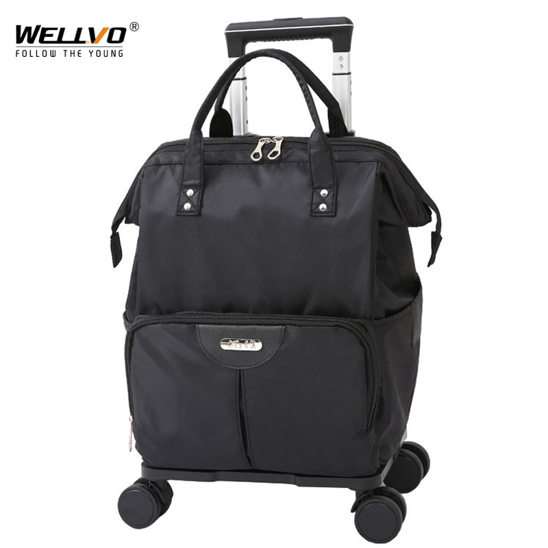 Multicuntion Trolley Bag Large Waterproof Travel Duffle Foldable Luggage Organize Bags Wheels Carry