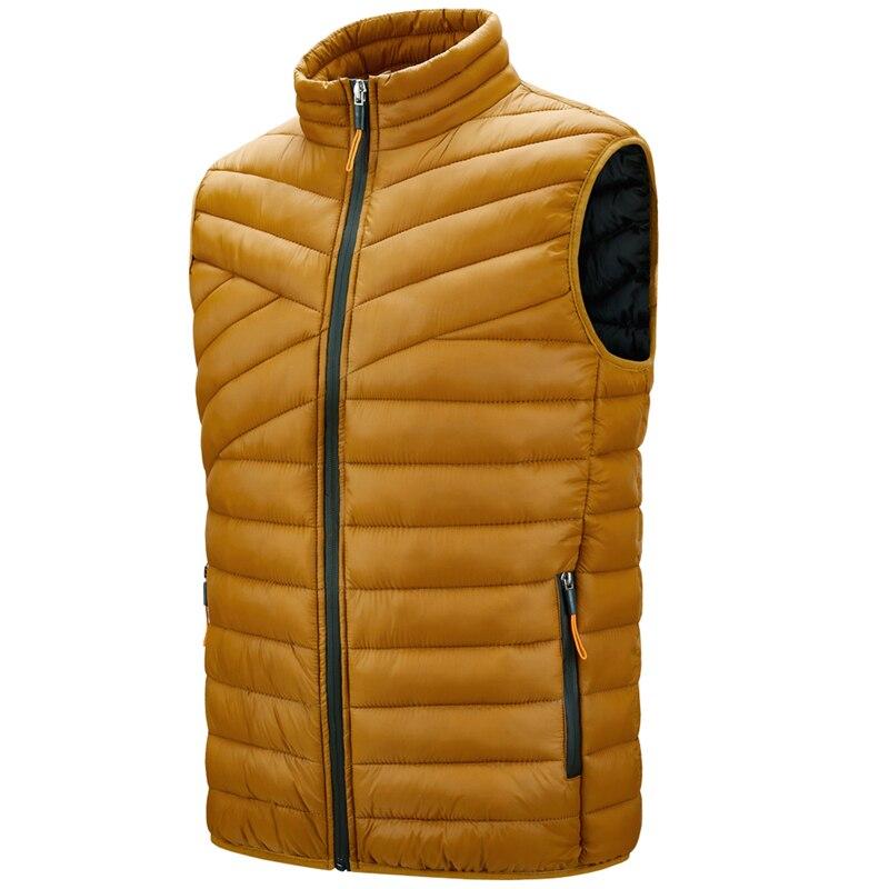 2020 зимний жилет на утином пуху, мужская легкая куртка без рукавов, Повседневная тёплая жилетка, Осенняя мода, мужская модель