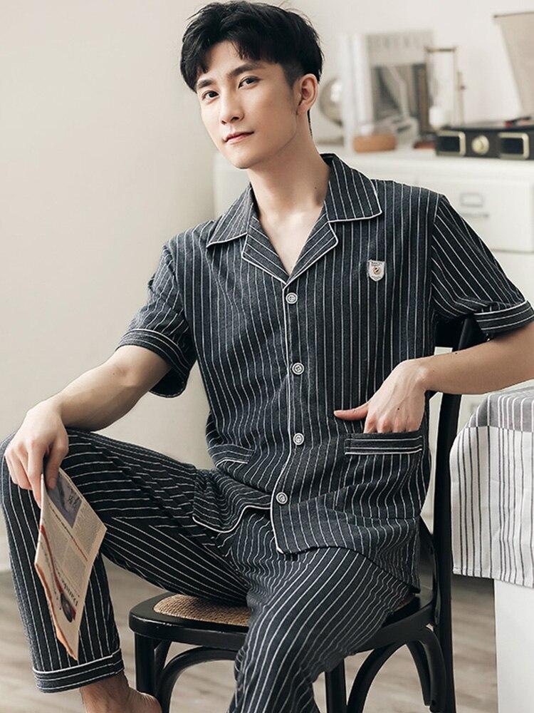 Лето 100% 25 Хлопок Пижамы Комплект Мужчины В полоску Короткие рукава Пижамы Домашняя одежда Плюс Размер Пижама Hombre Пижамы Хлопок Пижама Homme