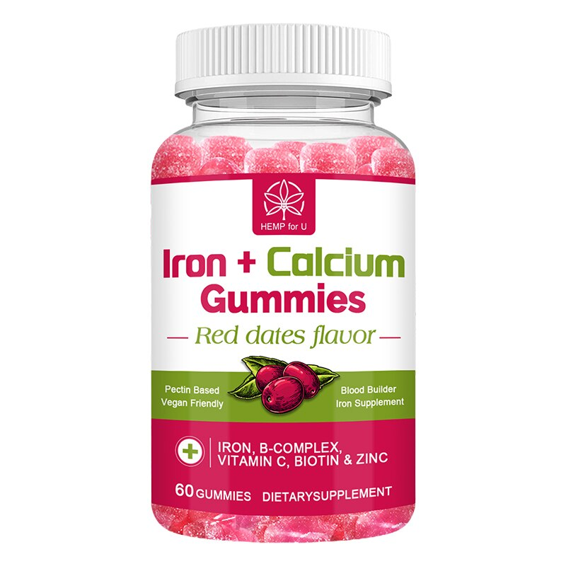 HFU Iron Calcium Gummies Iron Gummies Supplement with Vitamin C, A, Vitamins B Complex for Women, Kids & Adults Supports Energy