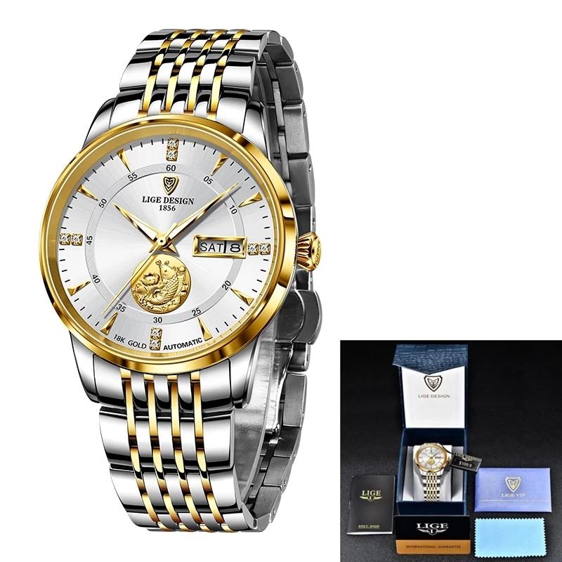 2021 LIGE Luxury Brand Mechanical Watch For Women Bracelet Automatic Watch Ladies Wrist Watches Gift Waterproof Relogio Feminino enlarge