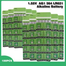 100 pièces AG1 AG 1 montre horloge pile Pilas LR621 LR 621 LR621W SR621SW SR621 1.55V pile bouton