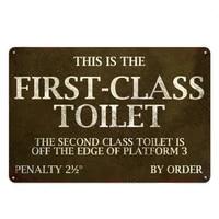 metal sign first class toilet tin sign decor for restroom bathroom bar pub