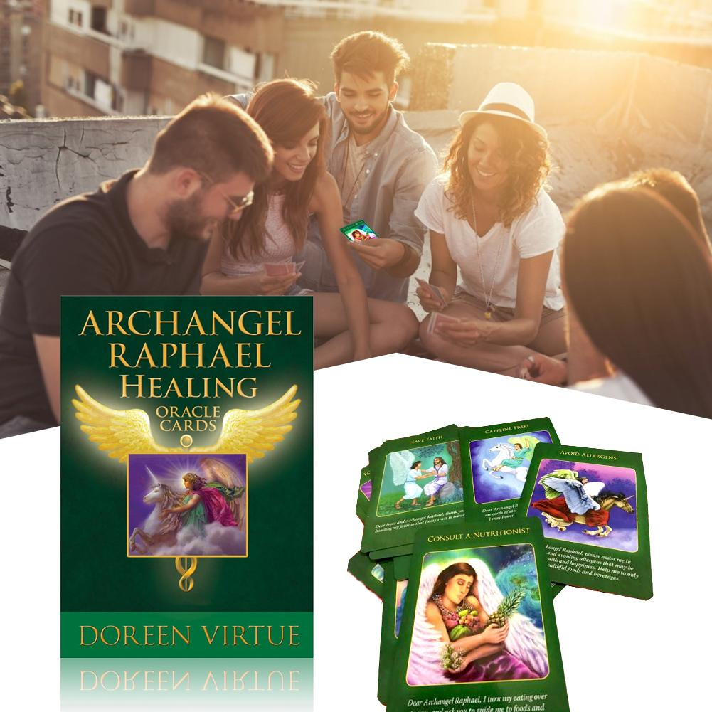 44 Uds. Cartas de Arcángel Raphael curativo oráculo Tarot juego de mesa en inglés versión baraja de cartas de juego Juegos para entretenimiento de fiesta