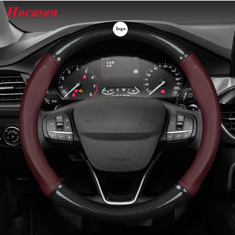 Hocasen كل موسم ألياف الكربون جلد طبيعي عجلة توجيه سيارة غطاء صغير الحجم الكبير D شكل 36 سنتيمتر 38 سنتيمتر 40 سنتيمتر