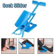 1 Pcs/Set Socks Slider Aid Blue Helper Kit Helps Put Socks On Off No Bending Shoe Horn Suitable For