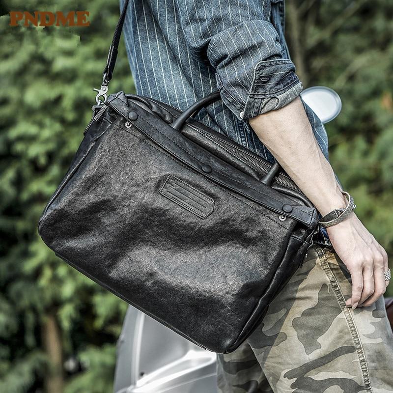 PNDME business casual luxury genuine leather men briefcase fashion natural real cowhide black messenger bag work laptop handbag