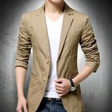 Men's Blazer Casual Suit Jacket Mens Spring and Autumn Coat Single Breasted Blazer Men Cotton Suit M