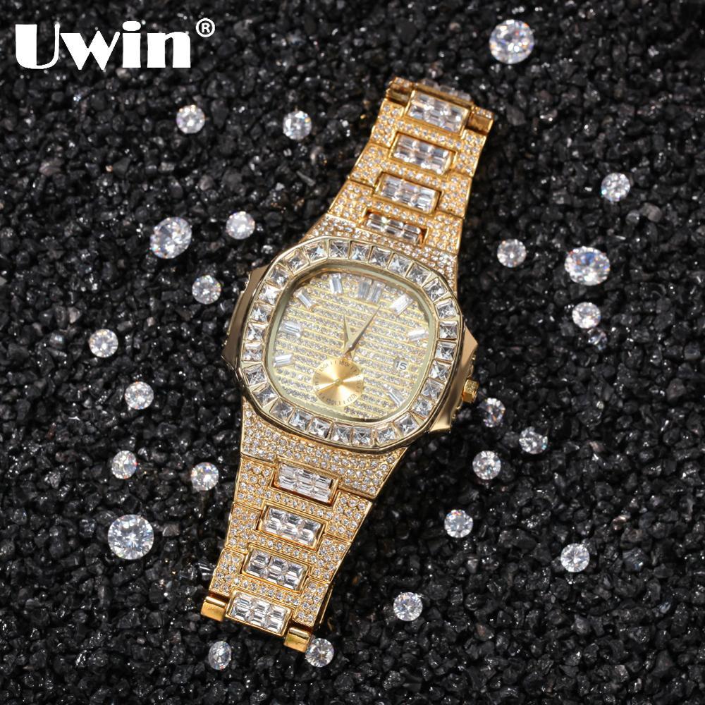 UWIN-ساعة كوارتز مرصعة بالألماس ، وسوار من الفولاذ المقاوم للصدأ ، وأسلوب الهيب هوب ، وخدمة دروبشيبينغ