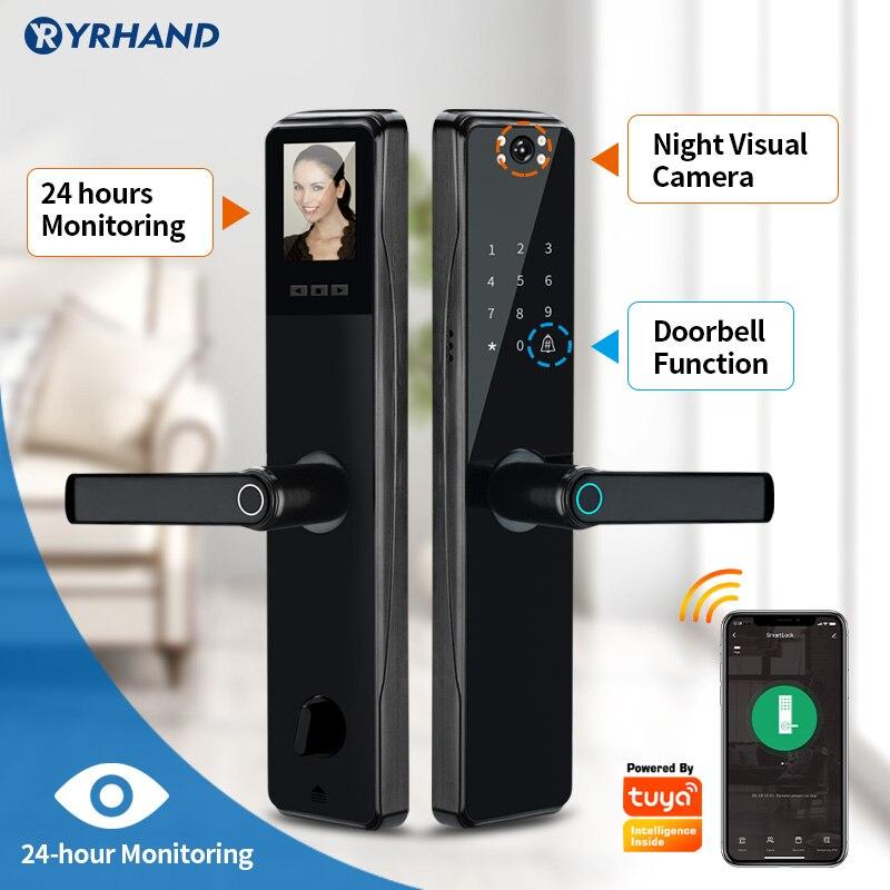 Promo Camera Monitoring Lock Tuya Biometric Fingerprint, Security Intelligent Smart Lock With WiFi APP Password RFID Door Lock