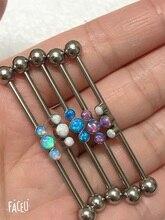 Chaud!!! Acier inoxydable opale de feu bleu 1.6X38mm Barbell industriel 14G oreille supérieure Daith Piercing bijoux de corps