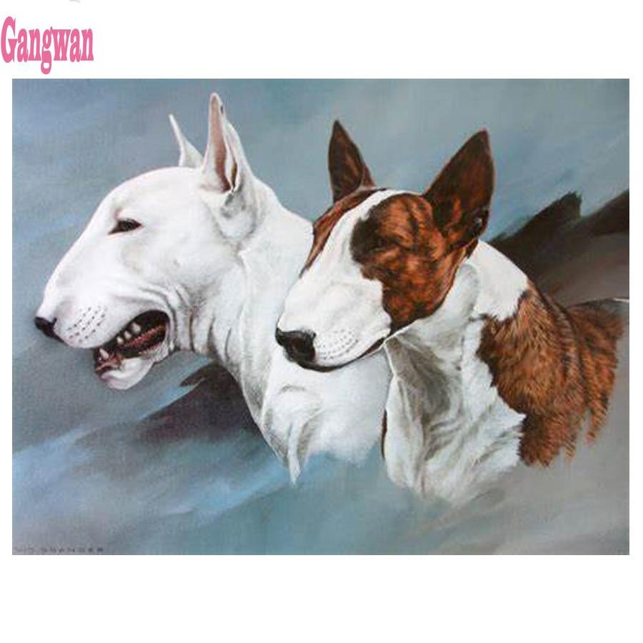 Diy diamante pintura Bull Terrier patrón completo taladro cuadrado redondo diamante bordado venta perro lindas mascotas diy mosaico niños pintura