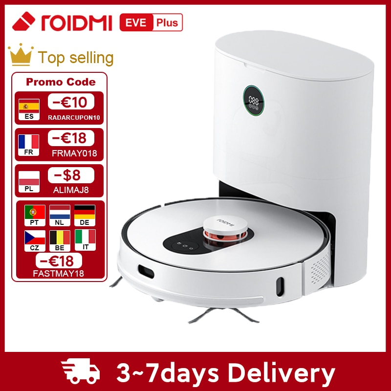 ROIDMI EVE Plus Dust Collection Robot Vacuum Cleaner Support Google Assistant Alexa Mi Home APP Control Mop Cleaner Smart Home
