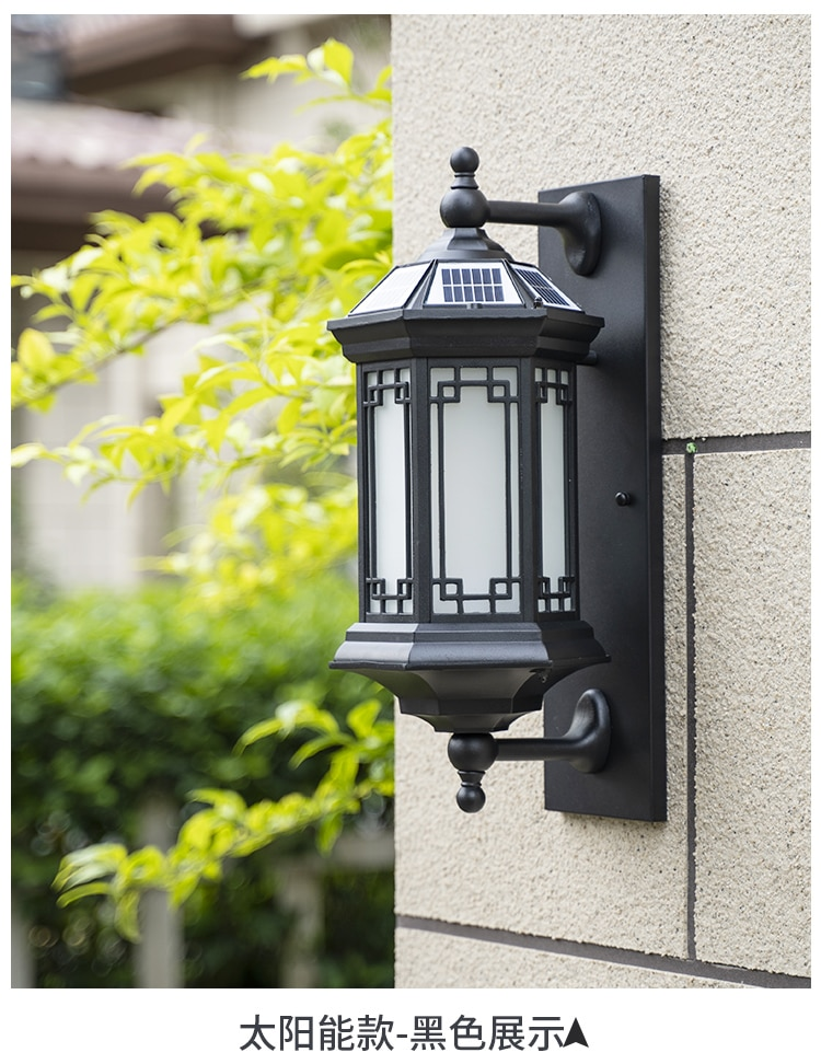 Chinese Solar Wall Lamp Outdoor House Lights Led Waterproof Solar Lights Rechargeable Batteries Lamparas Porch Lights Ed50dj enlarge