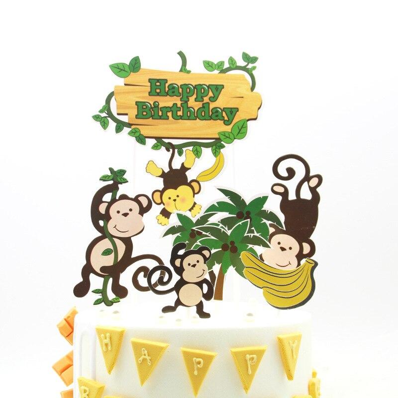 Декорация для торта обезьяны, топпер для торта бананового леса, украшения для торта, счастливые топперы для торта на день рождения, торты на ...