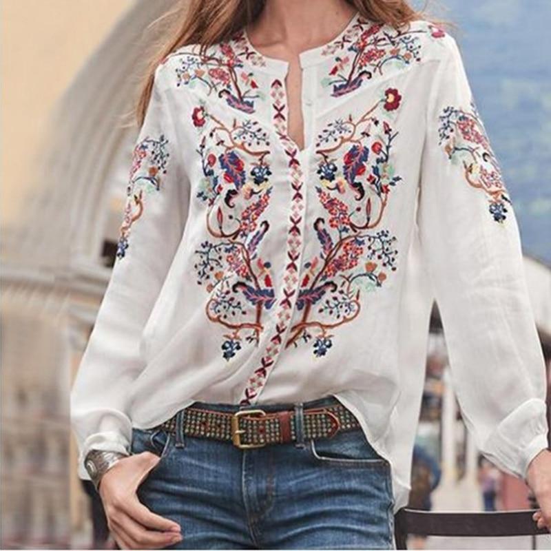 Women Bohemian Clothing Blouse Shirt Vintage Printed Tops Ladies Blouses Blusa Feminina Long Sleeve Shirts For Clothes
