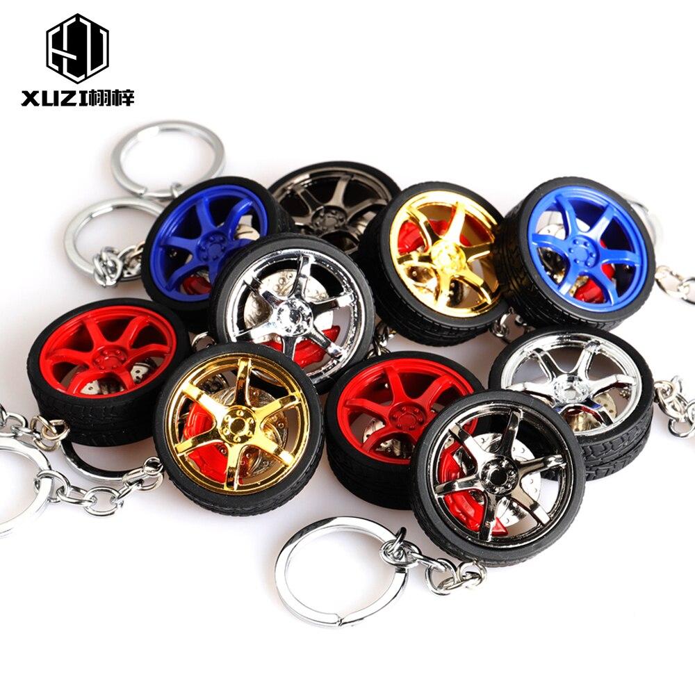 Zinc alloy RIM wheel keychain Car wheel Nos Turbo keychain key ring metal with  Brake discs Keyfob for TE37 TOYOTA style