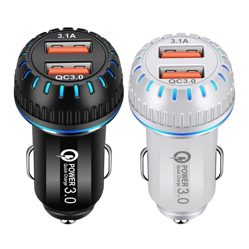 Nuevos accesorios para automóvil, cargador de teléfono para coche QC3.0, adaptador de teléfono móvil de carga rápida LED-doble USB, 12V-24V 3.1A TSLM2