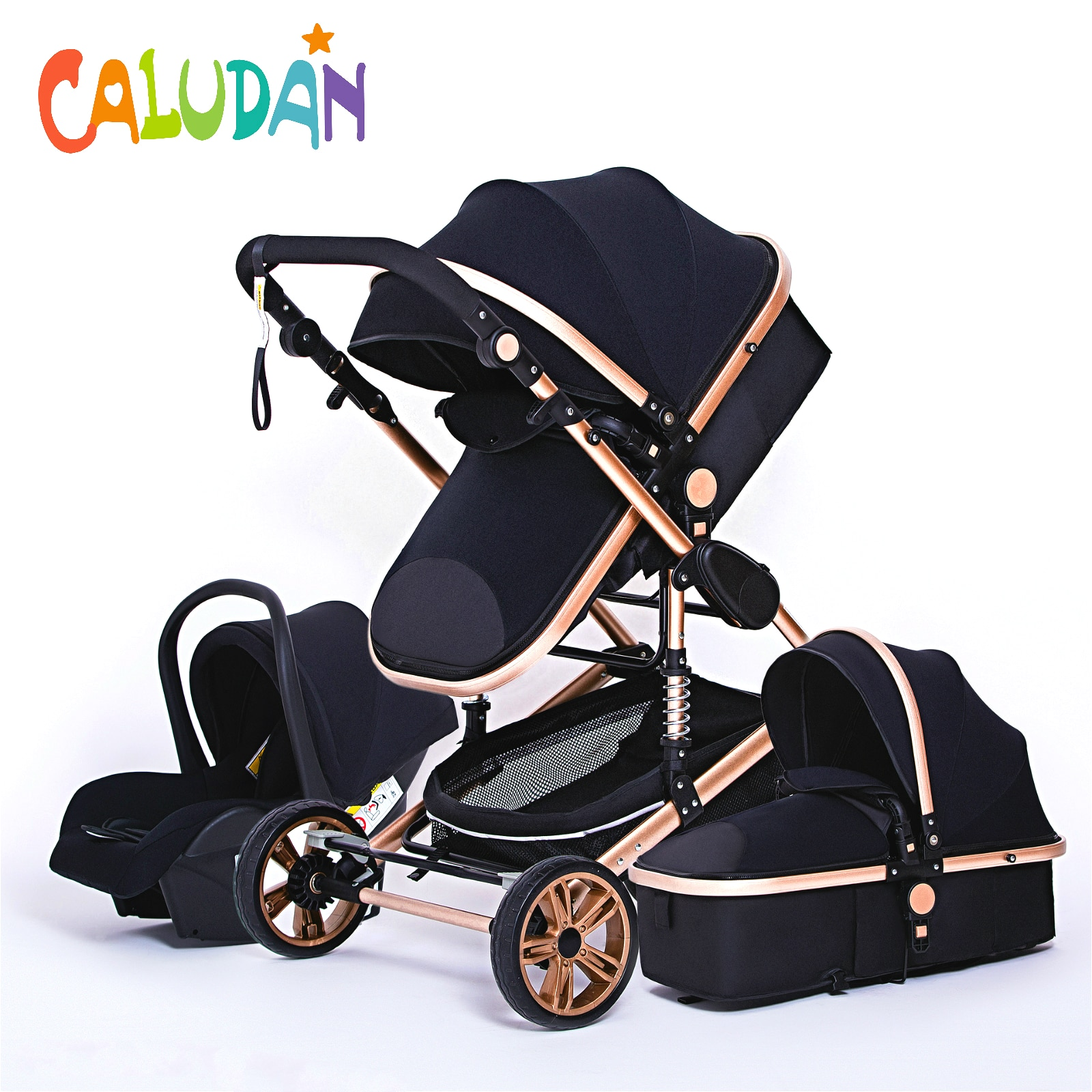 Luxurious Baby Stroller 3 in 1 Portable Travel Baby Carriage Folding Prams Aluminum Frame High Lands