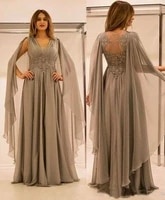 vkbridal chiffon mother of the bride dresses for weddings elegant long sleeve v neck lace floor length vestidos de madrina