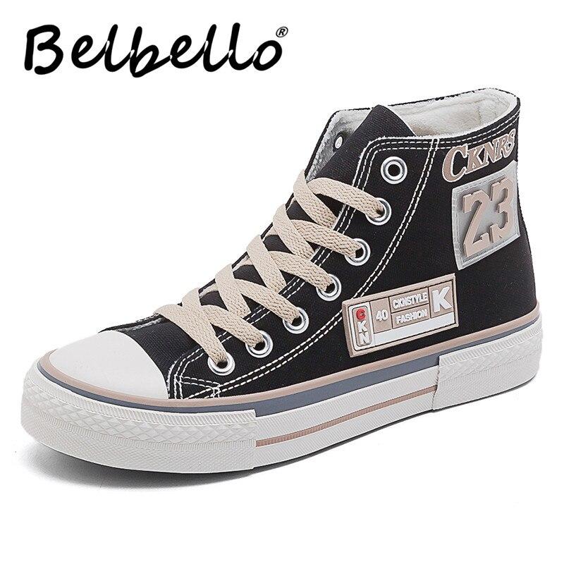 Belbello-أحذية قماشية عالية الجودة للنساء ، أحذية رياضية قماشية ، أحذية غير رسمية ، أحذية دافئة متعددة الاستخدامات ، للطلاب