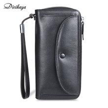 DICIHAYA 2021 Luxury Genuine Leather Wallets Women Long Zipper Coin Purses  Clutch Bags Designer Pho