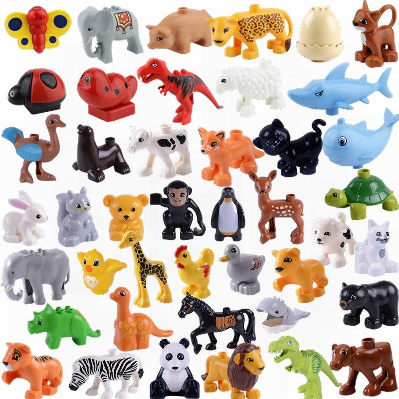 Duplo Animals Sets Big Blocks Panda Cat Lion Tiger Dog Figures Toys For Children Compatible Duplo Farm Bricks Christmas Gifts