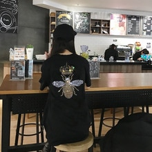 Новинка 2020, женская летняя футболка с мультяшным бриллиантовым камнем, футболка высокого качества, модная повседневная свободная футболка,...